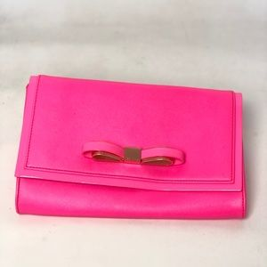 Ted Baker Hayly Hot Pink Envelope Bow Clutch Bag